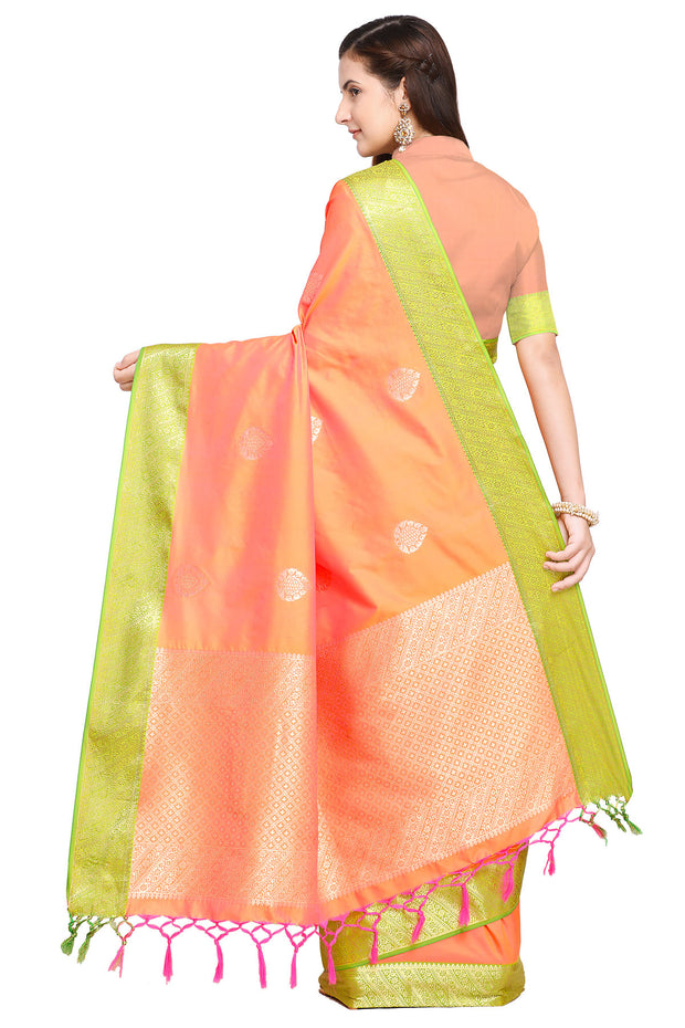 Art Silk Katan Woven Design Saree in Peach