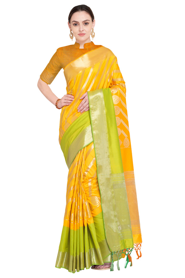 Art Silk Katan Woven Design Saree in Mustard and Green