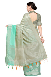 Art Silk Katan Woven Design Saree in Grey and Sea Green