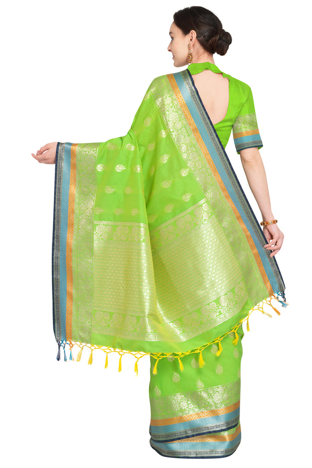 Art Silk Katan Woven Design Saree in Parrot Green