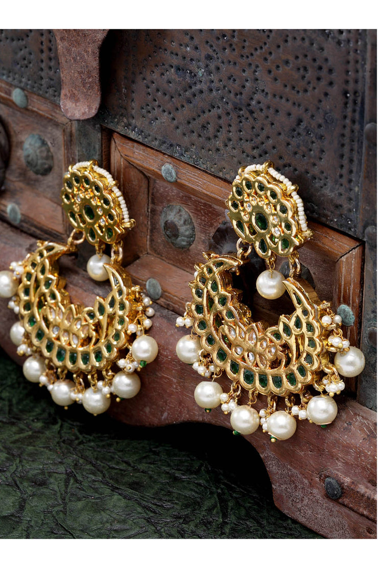 Women's Copper Chandbali Earrings in Green
