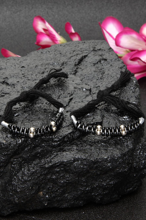 Women's Silver Bracelet in Black