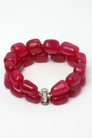 Women's Silver Bracelet in Red