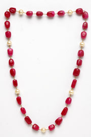 Women's Silver Necklace in Red