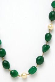 Women's Silver Necklace in Green
