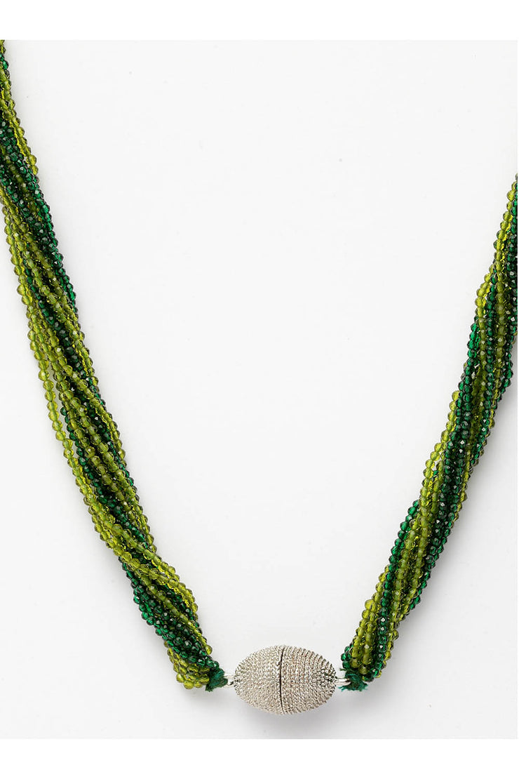 Women's Sterling Silver Necklace in Green