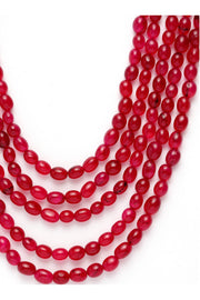 Women's Sterling Silver Necklace in Red