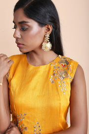 Satin Art Silk Embroidered Top Set in Yellow
