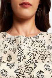 Blended Cotton Printed Blouse in White