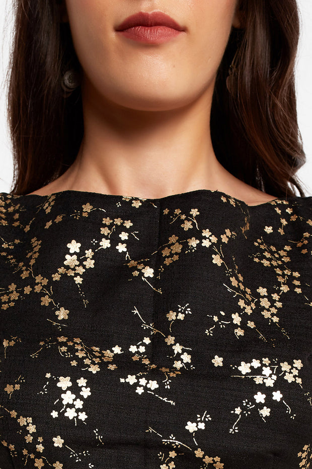 Art Silk Printed Blouse in Black
