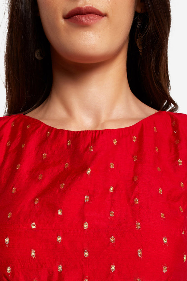 Art Silk Solid Blouse in Red