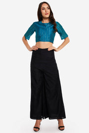 Chanderi Solid Blouse in Teal Blue