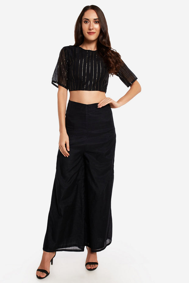Chanderi Solid Blouse in Black