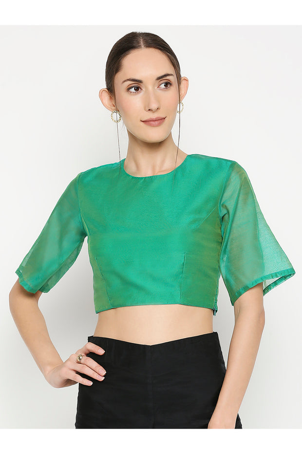 Buy Chanderi Blouse in Green
