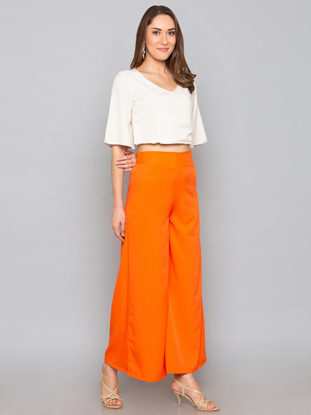 Crepe Combo Palazzo in Black and Orange