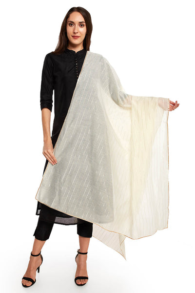 Art Silk Solid Dupatta in Off White