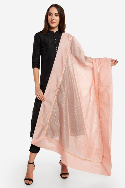 Art Silk Solid Dupatta in Peach