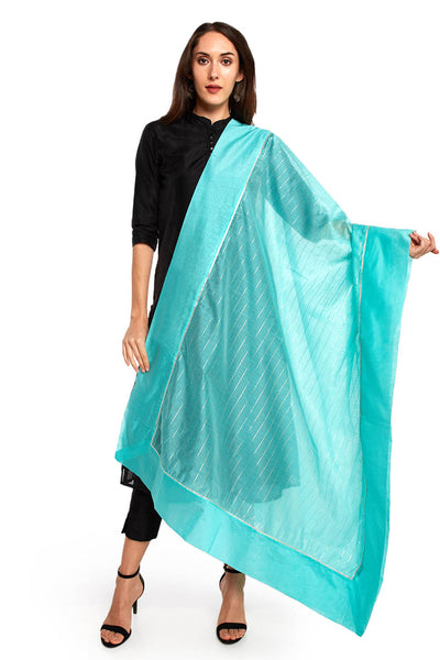 Art Silk Solid Dupatta in Sea Green