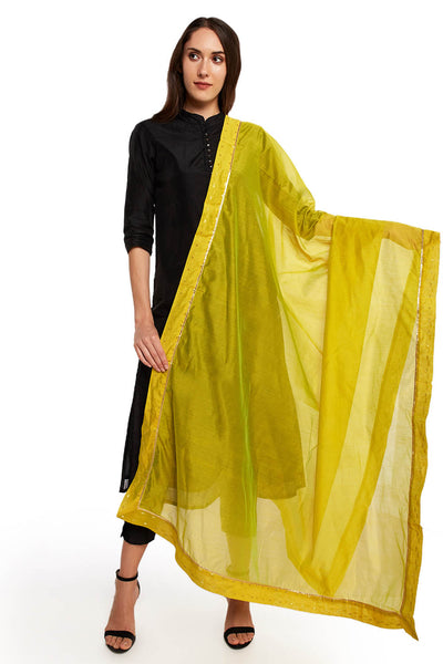 Art Silk Solid Dupatta in Lime Green