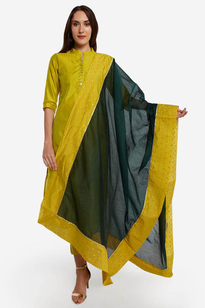 Art Silk Solid Dupatta in Green