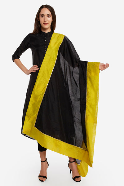 Art Silk Solid Dupatta in Black and Green