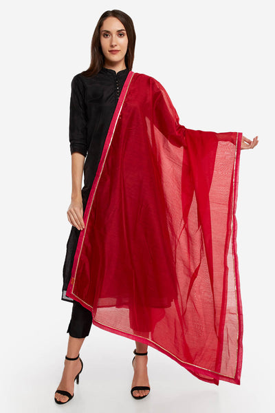 Art Silk Solid Dupatta in Red
