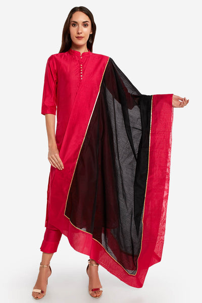 Art Silk Solid Dupatta in Black and Pink