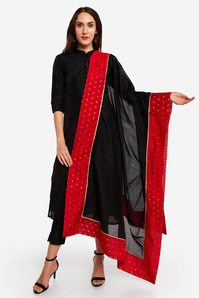 Art Silk Solid Dupatta in Black and Red