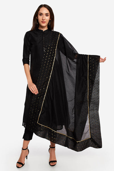 Art Silk Solid Dupatta in Black