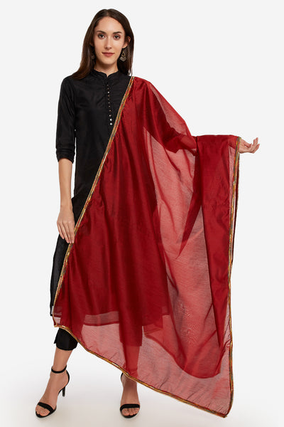 Art Silk Solid Dupatta in Rust