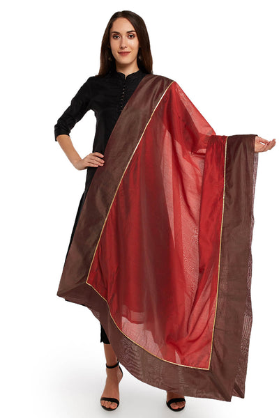 Art Silk Solid Dupatta in Rust and Grey