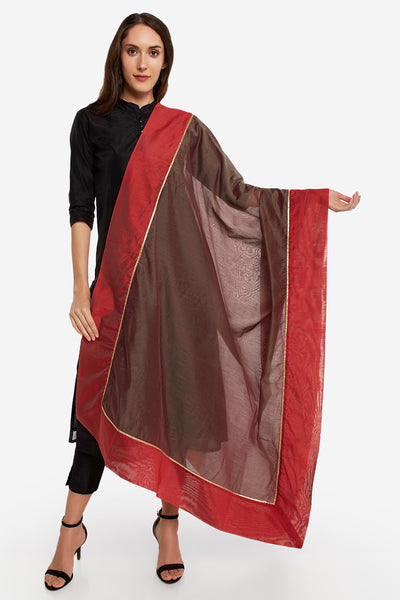 Art Silk Solid Dupatta in Mud Grey and Rust