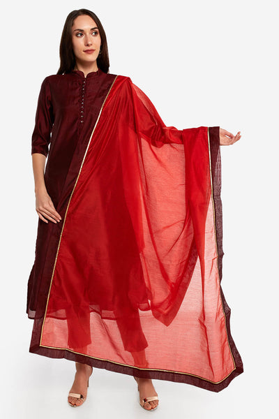 Art Silk Solid Dupatta in Orange and Maroon