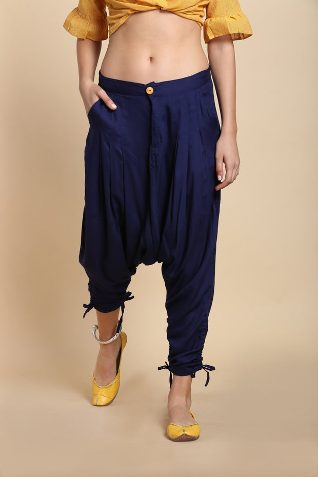 Blended Cotton Jodhpuri Pant in Navy Blue
