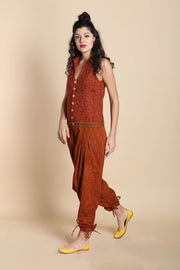 Cotton Printed Jumpsuit in Rust