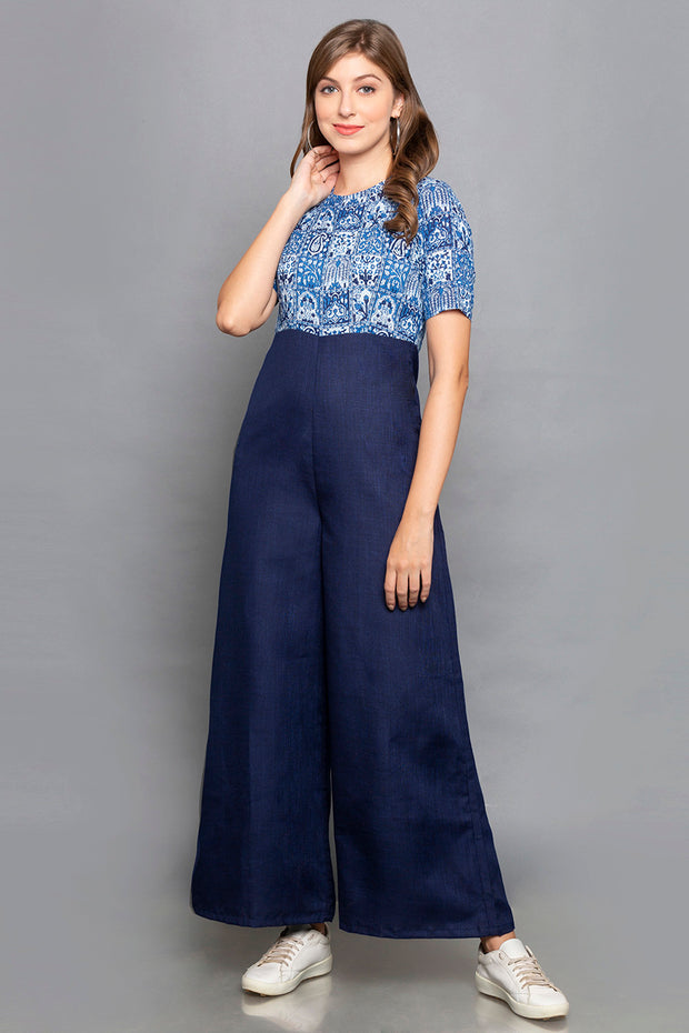 Cotton Solid Jumpsuit in Blue