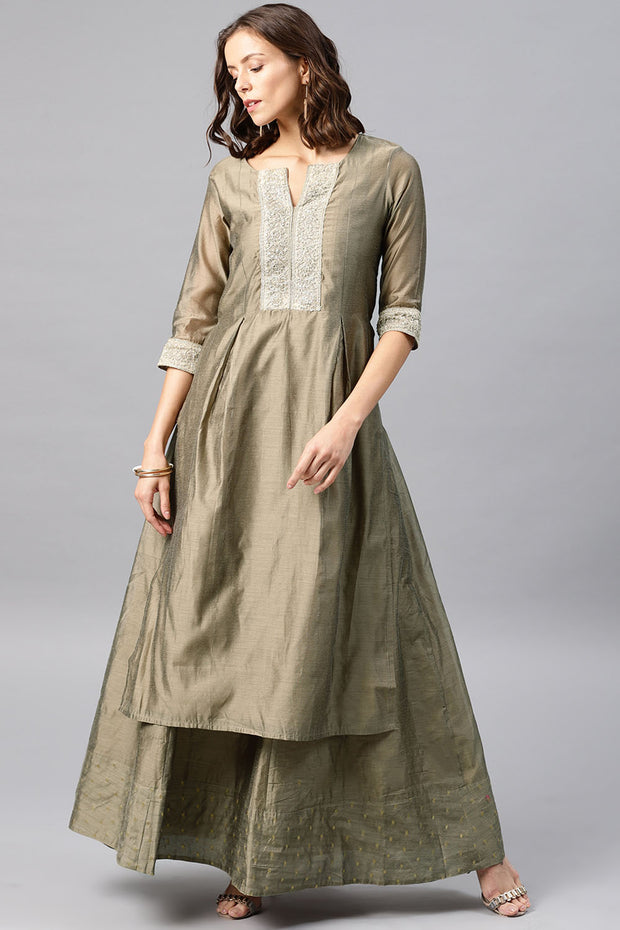 Chanderi Kurta with Skirt in Mud Grey