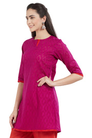Blended Cotton Kurti in Magenta