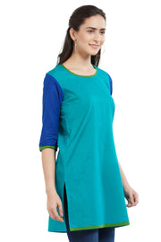 Blended Cotton Kurta in Teal