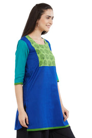 Blended Cotton Kurta in Royal Blue