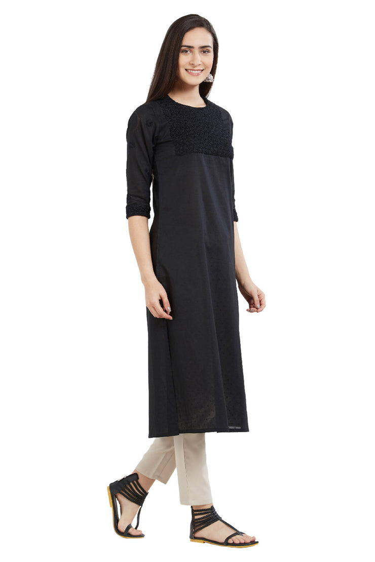 Cotton Solid Kurta in Black