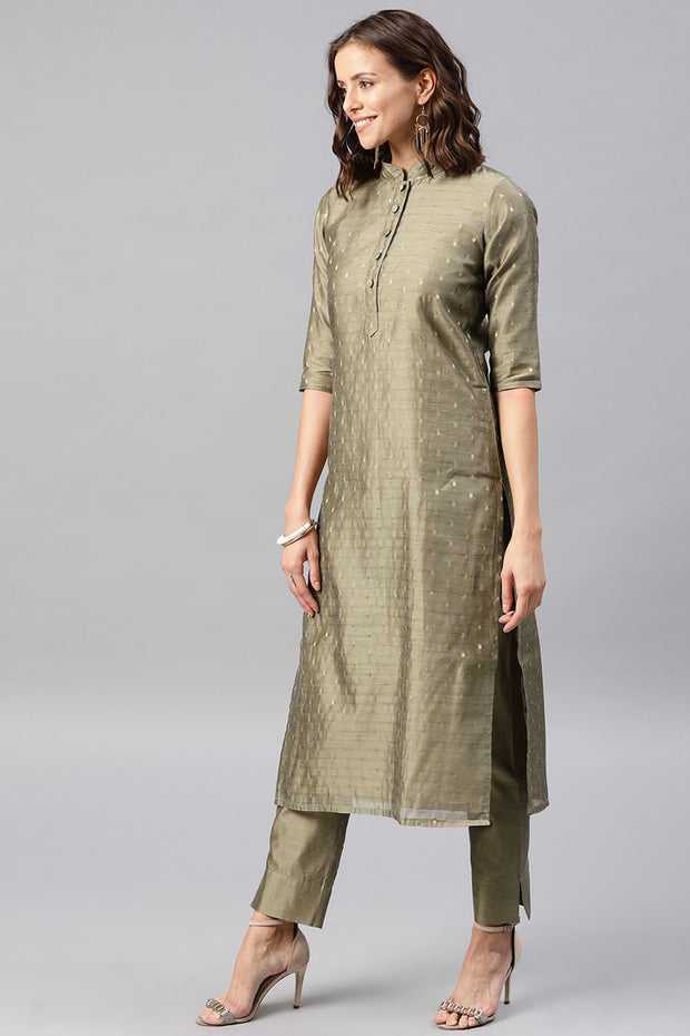 Chanderi Kurta in Mud Grey