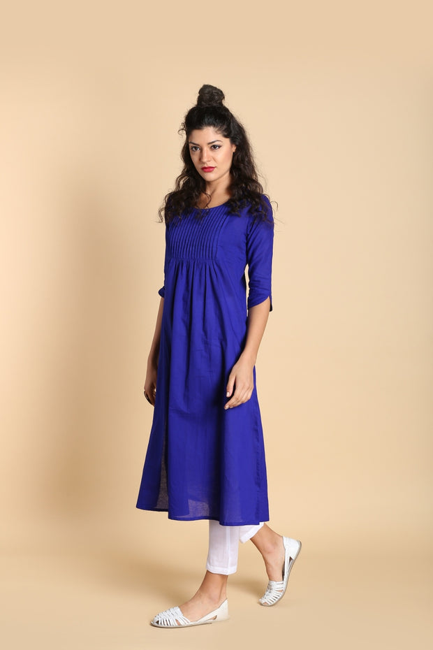 Blended Cotton Kurta in Blue