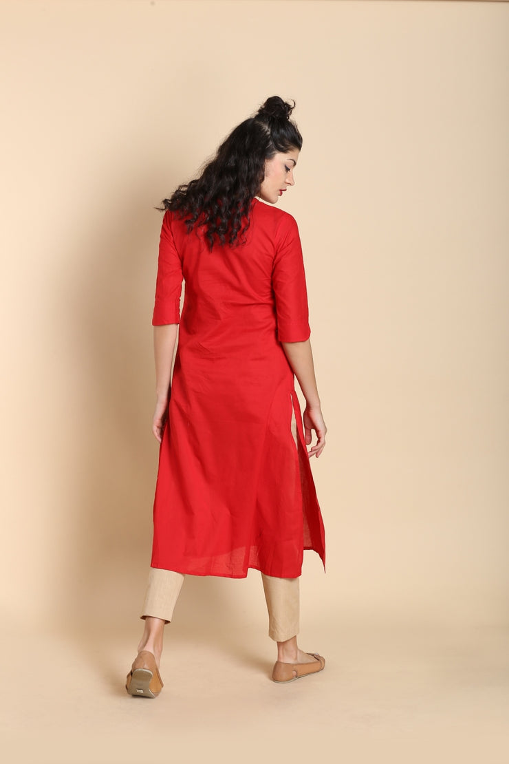 Blended Cotton Kurta in Red