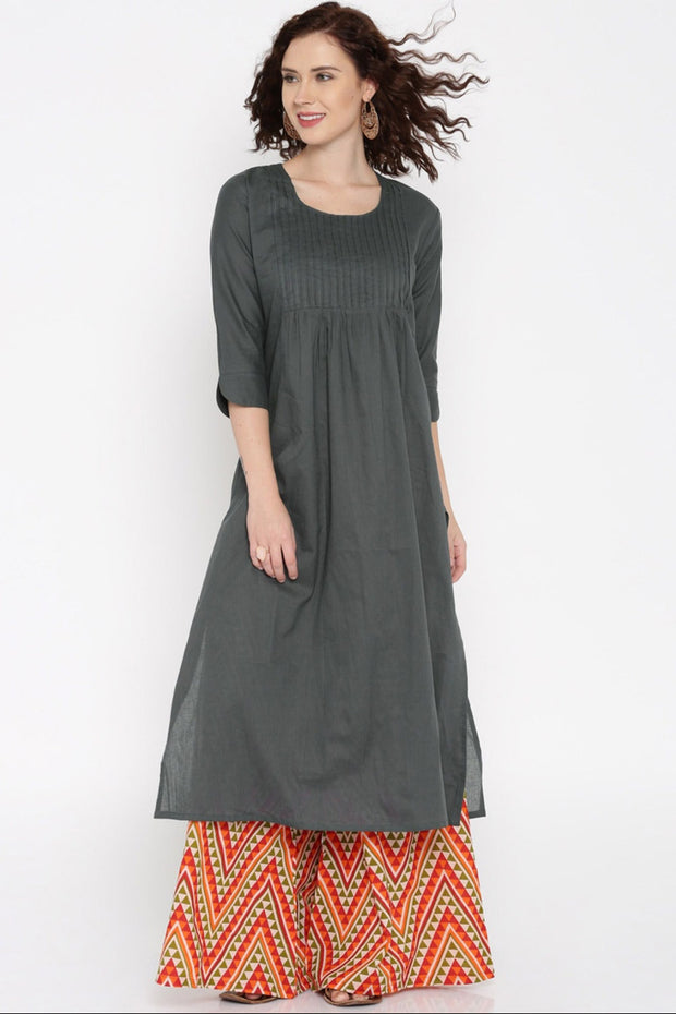 Blended Cotton Kurta in Charcoal