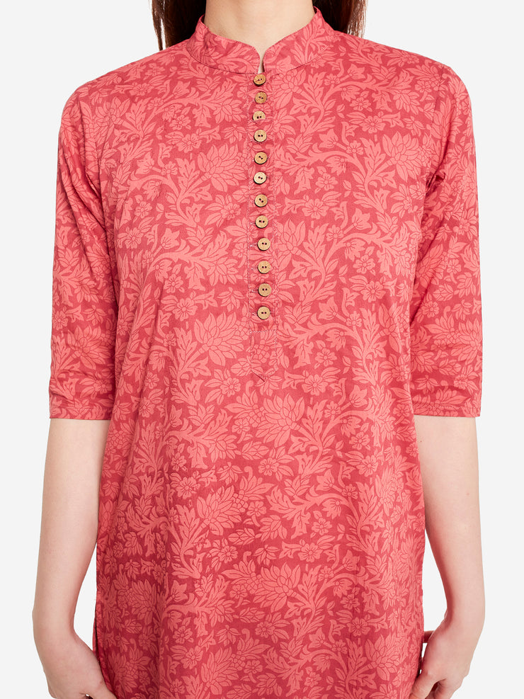 Blended Cotton Printed Kurta in Red