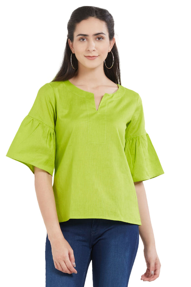Blended Cotton Top in Lime Green