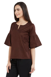 Blended Cotton Top in Brown