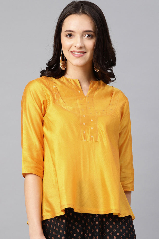 Chanderi Top in Gold