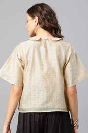 Desi Weaves Chanderi Top in Beige